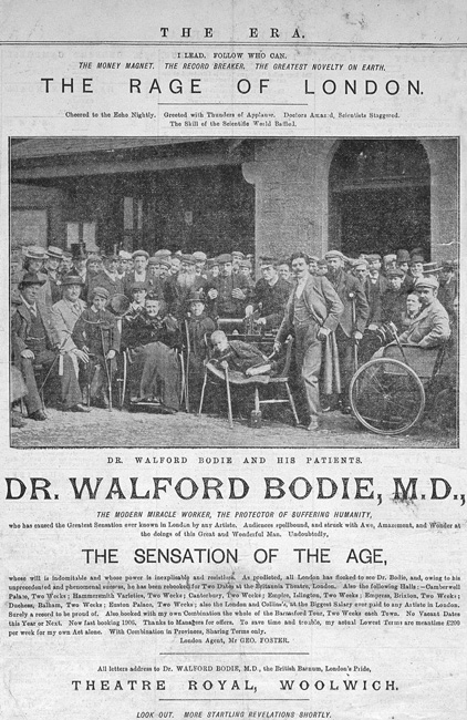 This advertisement for Bodie, circa 1910, indicates his miraculous abilities to heal the lame and demonstrates the grandiose claims that led to his court appearances.