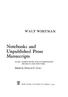 Cover image for Notebooks and unpublished prose manuscripts, Vol. 1