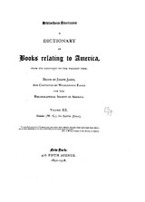 Cover image for Bibliotheca Americana: a dictionary of books relating to America, from its discovery to the present time, Vol. 20
