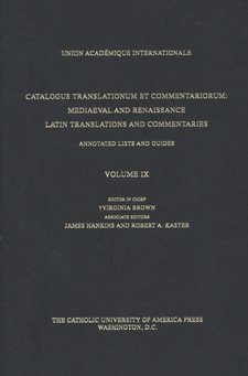 Cover for Catalogus translationum et commentariorum: Mediaeval and Renaissance Latin translations and commentaries : annotated lists and guides., Vol. 9