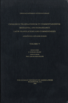Cover for Catalogus translationum et commentariorum: Mediaeval and Renaissance Latin translations and commentaries : annotated lists and guides., Vol. 5