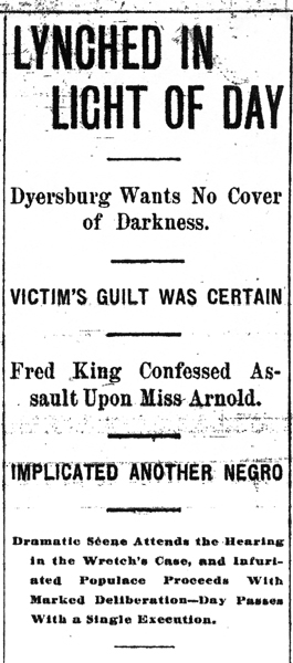 Headline, Memphis Commercial Appeal, February 19, 1901, p. 1.