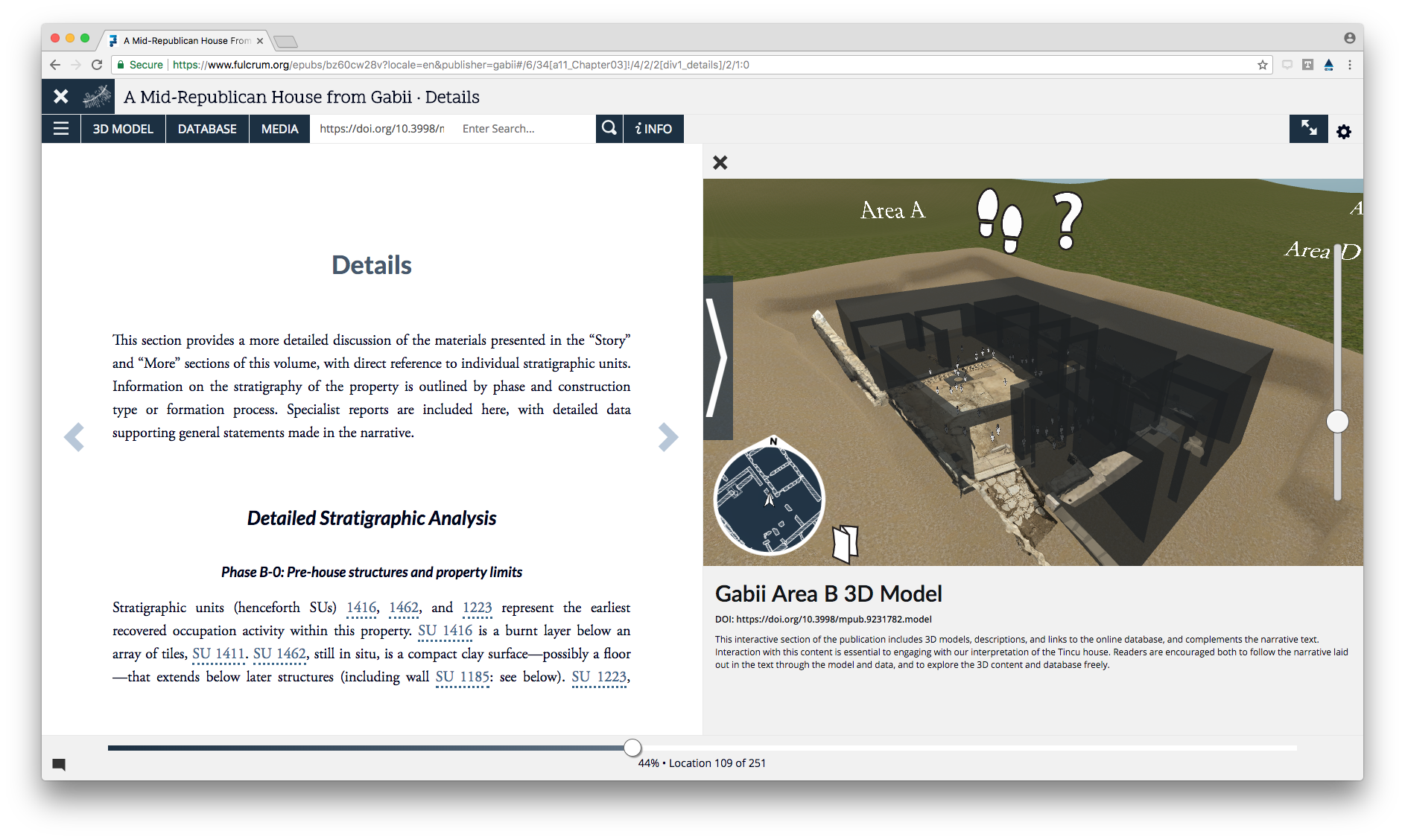 Screenshot of Gabii on Fulcrum showing an e-book and 3D model side-by-side in browser