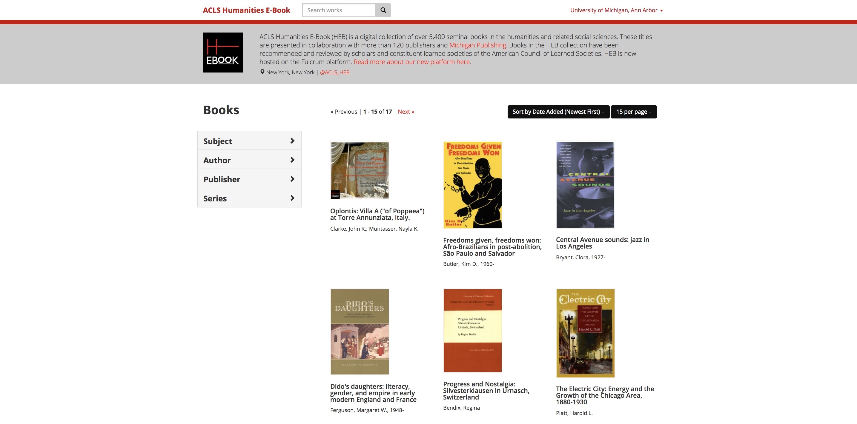 A screenshot of the updated catalog page of Humanities E-Book, displaying book covers and browse filters.