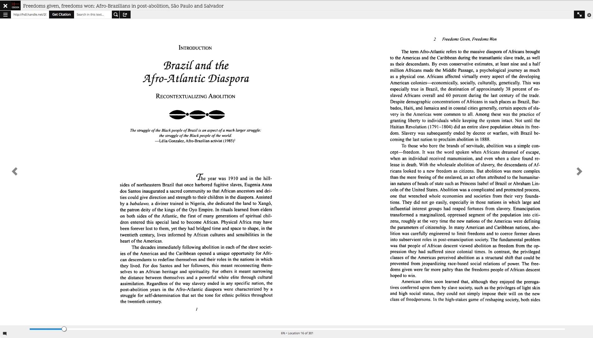A screenshot of the new e-reader application, displaying two page images in the e-reader.