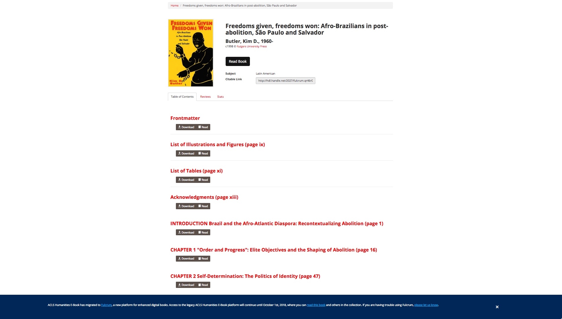 A screenshot of the enhanced e-book landing page displaying book metadata, links to chapters, and chapter download buttons.