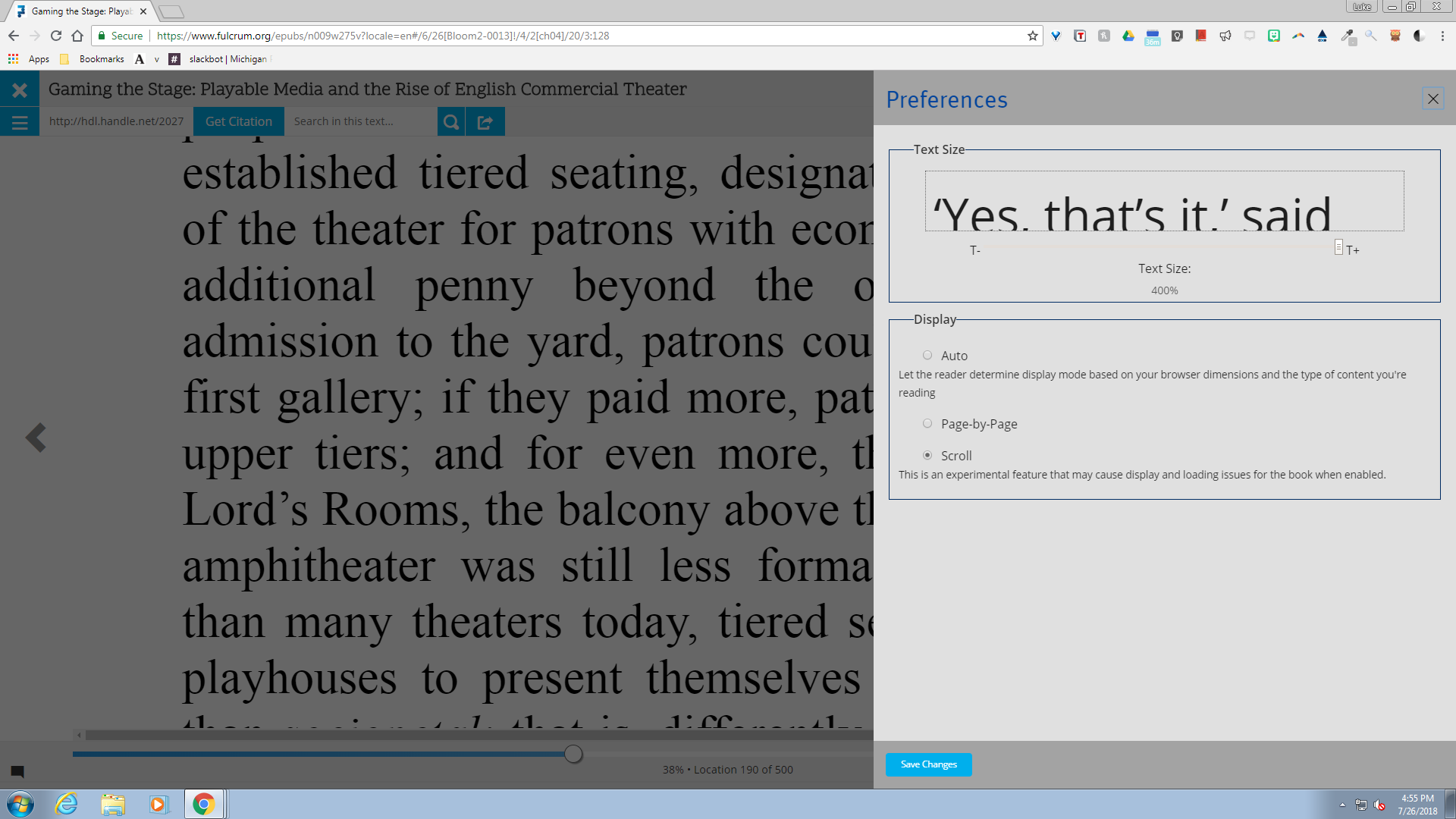 A screenshot of E-Reader preferences panel with text size increase/decrease options.